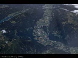 Agriculture in a European valley (aerial)