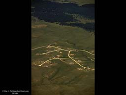 Urban sprawl reaching out (aerial), Western USA